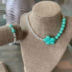 👶5/$25 Girls Green Flower Bead Necklace Set